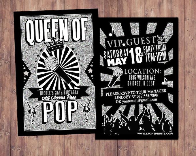 King of pop, Queen of pop, Hip Hop, VIP PASS, backstage pass, Vip invitation, birthday invitation, pop star, lanyard, Rock Star birthday,