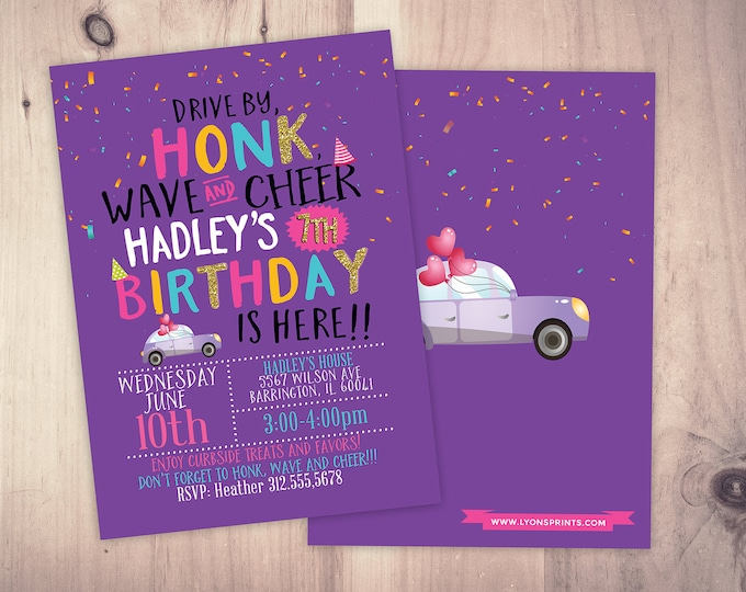 Drive by birthday parade invitation,  social distancing drive-by birthday party invite, car birthday parade, quarantine party, digital file
