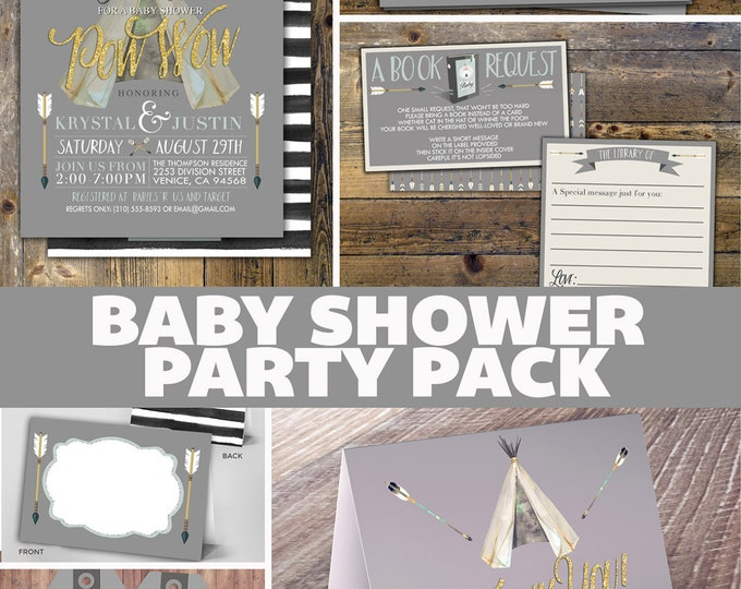 Party Pack,TEEPEE Baby Shower Invitation, Baby shower Invite, aztec, baby shower invite, invitation, arrow, pow wow, BOHO, Tribal