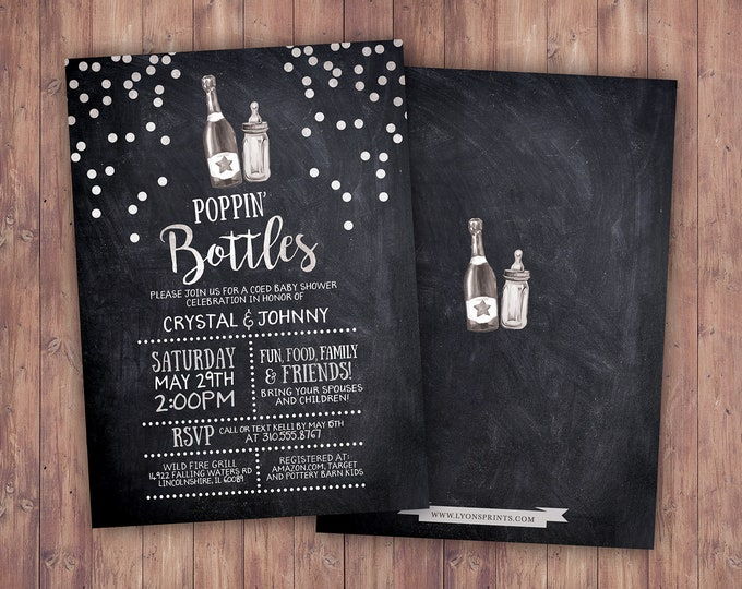 Champagne Poppin' Bottles Couples Baby Shower Invitation Poppin Bottles Co-ed Baby Shower Invitation, chalkboard  Poppin Bottles Baby Shower