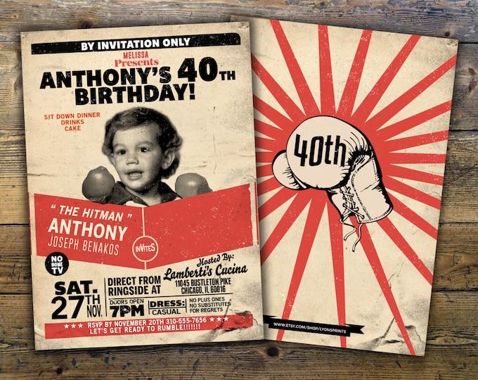 Retro vintage boxing birthday invitation, birthday, boxing, men's birthday, 21st, 30th, 40th, 50th, 60th, boy's birthday,