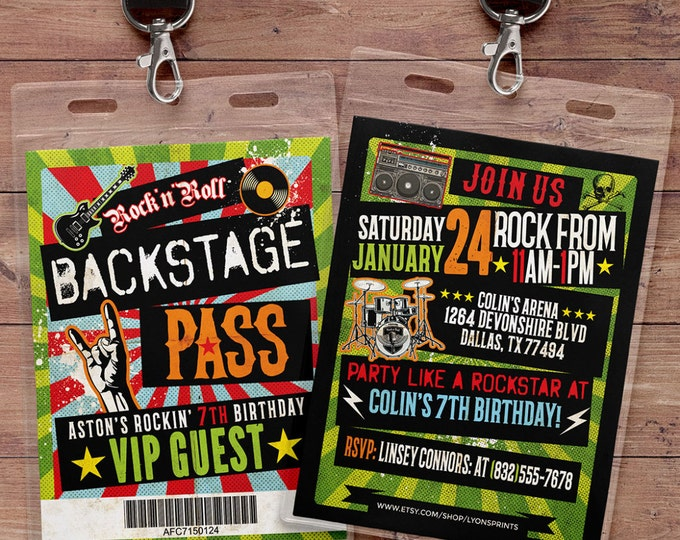 VIP pass invite design, Rock star, backstage pass, Vip invitation, birthday, pop star, rock star birthday, guitar invite, music theme