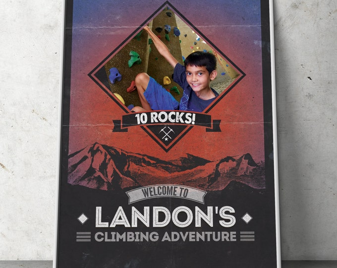 Ready to Rock, Rock Climbing Birthday Invite, 10 rocks, ten rocks, boy birthday, Adventure outdoors, hiking, 9. 10, 11, 12, 13, 14, 8, sign
