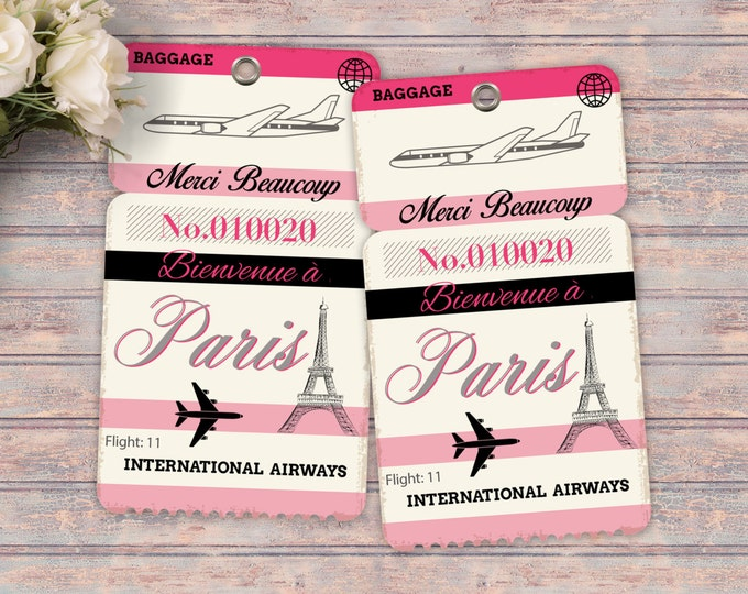Luggage tag, favor tag, Thank you, French, Paris, Girl's birthday party- travel birthday party- Paris, Eiffel tower, tag, Printable file
