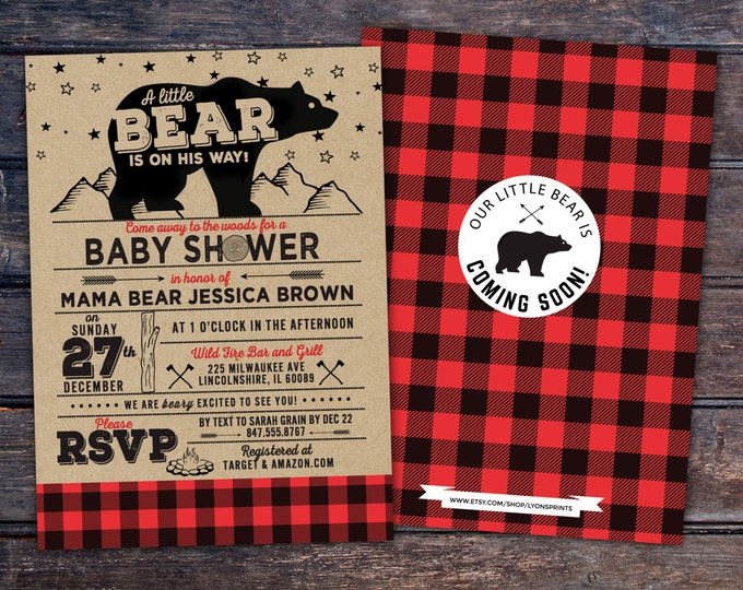 Lumberjack Baby Shower Invitation //  Buffalo Plaid Woodland Baby Shower Invitation // Lumberjack Invite // Rustic Gender Neutral //  Bear