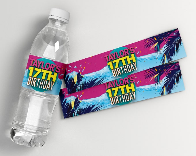Pool Party Water Bottle Wrappers - Water Bottle Labels, Birthday Party Favors, Summer, digital file only