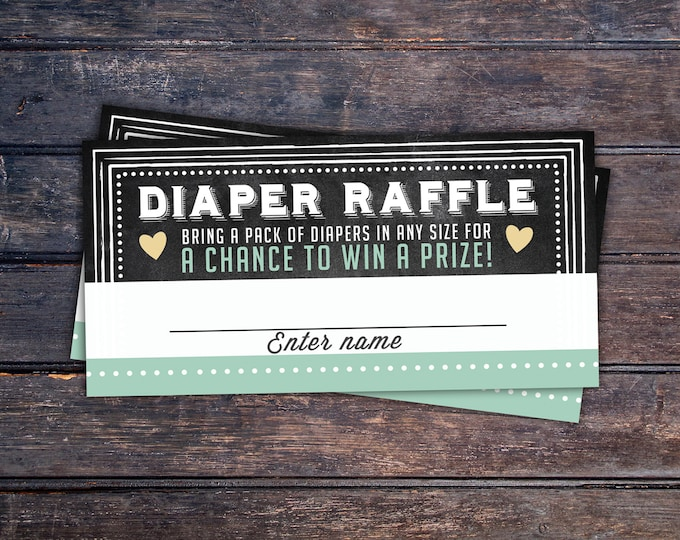 Baby Shower Diaper Raffle Ticket Inserts, Chalkboard- Printable Instant Download, boy shower, girl shower, shower game, party game