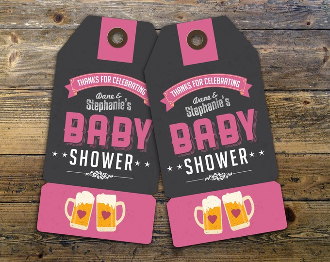 "Party favor tag ""Baby is Brewing"" baby shower, baby shower games, baby shower sign, beer and BBQ,"