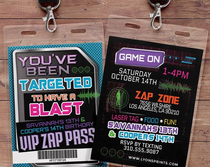 Laser tag invitation - VIP pass birthday invitations for laser tag party - Boys birthday party invitation - laser gun, video game, XBOX