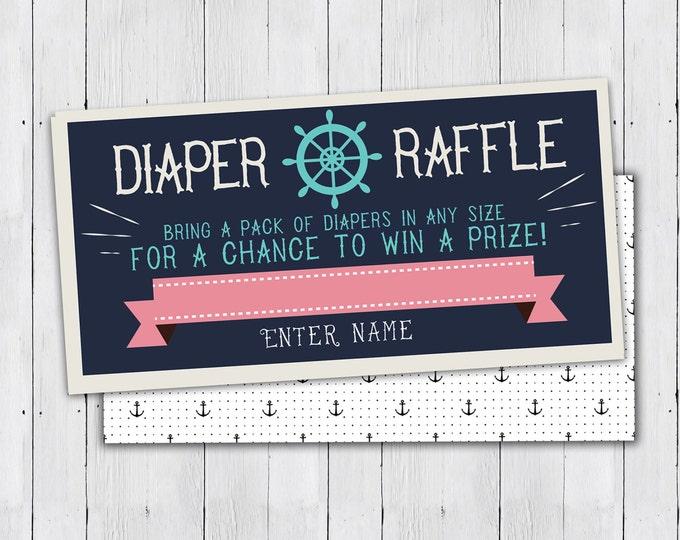 Baby Shower Diaper Raffle Ticket, Nautical, boy shower, baby shower game, party game, baby shower, Ahoy it's  Boy, raffle ticket, sailboat