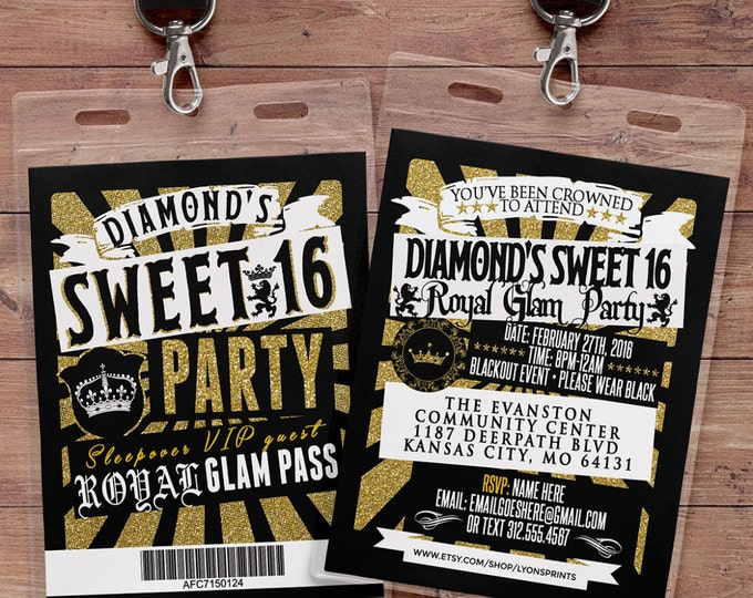 VIP PASS, Sweet 16, 21st birthday, backstage pass, concert ticket, birthday invitation, wedding,Royal invitation,  medieval, princess, crown