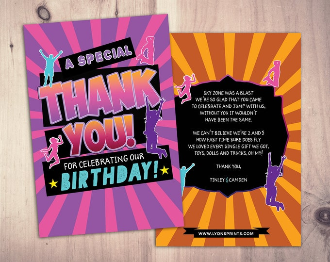 Thank you card, Jump party, Bounce house invitation, Trampoline birthday, Pump It Up Party, trampoline party, jump birthday
