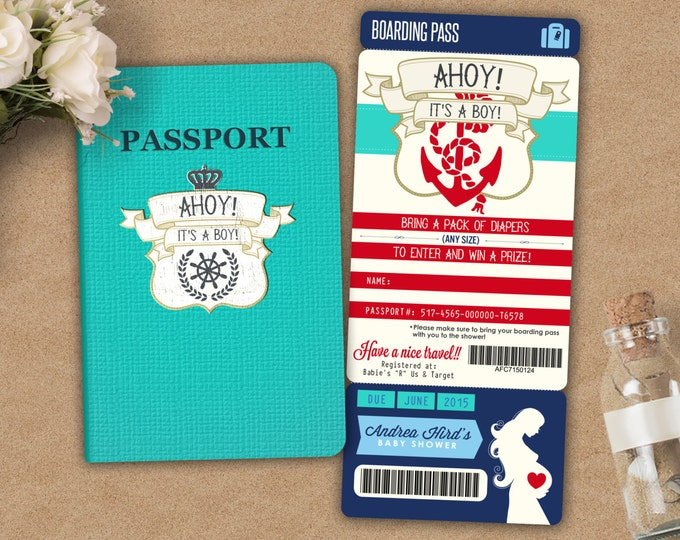 Nautical PASSPORT and TICKET baby shower invitation! Baby boy shower invitation- travel baby shower invitation- couples baby shower, Coed