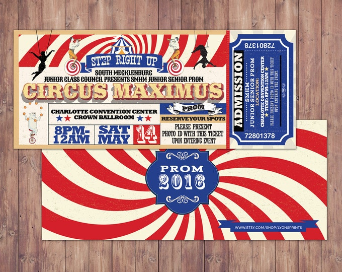 CIRCUS party prom Invitation- Carnival invitation-prom invitation- graduation party invitation-school dance invitation, prom invitation