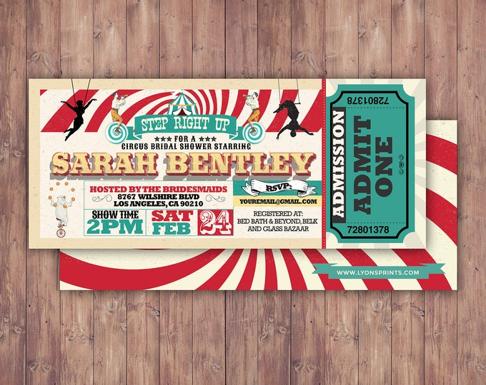CIRCUS bridal shower- Carnival invitation-wedding invitation- graduation party, school dance invitation,birthday, baby shower