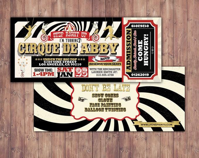 Birthday- circus ticket-carnival ticket invitation - vintage circus, retro, ticket invitation, carnival, circus birthday invitation, first