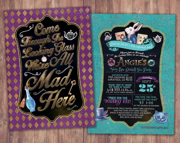 Bridal shower, Hen party, Mad Hatter Tea Party, Alice in Wonderland Invitation, Birthday Invitation, Printable for Birthday or Wedding,