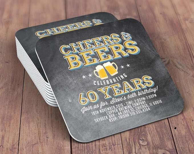 Digital logo file, Coaster, Cheers and Beers invitation, beer, 21st, 30th, 40th, 50th, 60th, 70th, Birthday Party, Surprise party, Milestone