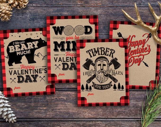 Set of 4 Designs, Lumberjack, Valentine cards printable - Valentine's Day, children's Valentine's, cards, animals, rustic Valentine