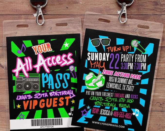 Hip hop, Retro, neon, VIP PASS, backstage pass, Vip invitation, birthday invitation, pop star, bridal shower invite, Rock Star birthday,