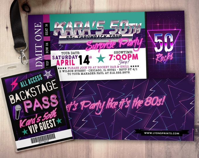 80s party, 90s party, throwback party, Hip Hop, ticket invitation, VIP pass, Vip invitation, birthday invitation, lanyard, birthday, retro
