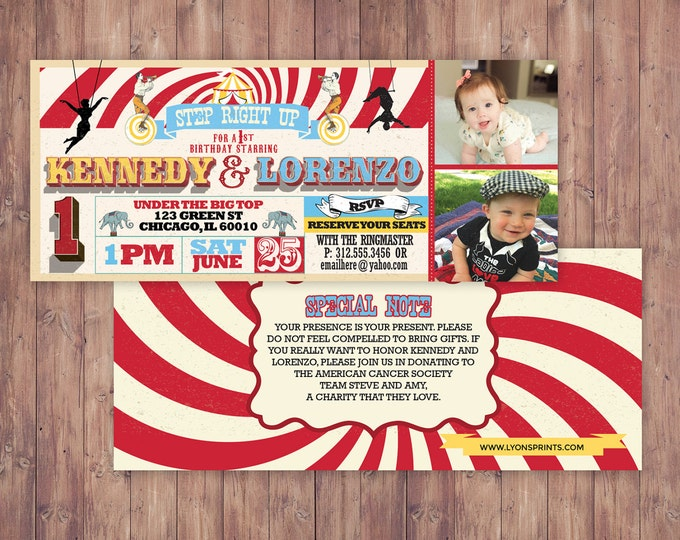 Birthday- circus ticket-carnival ticket invitation - vintage circus, retro, ticket invitation, carnival, circus birthday invitation, twins