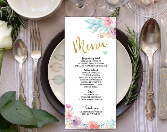 wedding menu,Floral, boho, Printable Wedding Program, elegant wedding program, wedding ceremony, modern wedding program, order of ceremony,