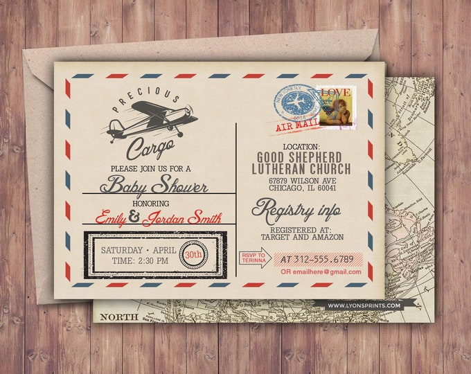 Precious Cargo Invitation, Baby Shower Invitation , vintage airplane invitation, Airplane, vintage travel, post card invite, airplane ticket
