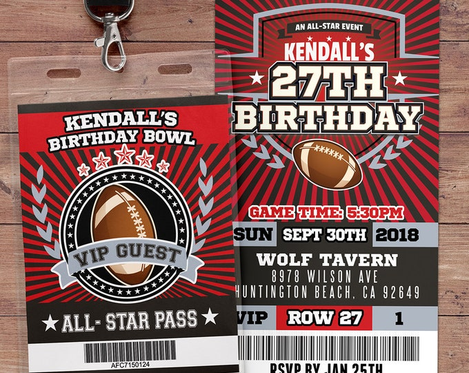 Football ticket Invitation // All Star Birthday //  VIP pass,, Super Bowl Party, sports birthday, ticket invite, Bar Mitzvah, football