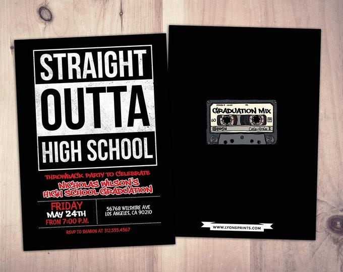 Straight outta, graduation party, Hip Hop, 90s party, birthday invitation, Graffiti, birthday, graduation, digital files