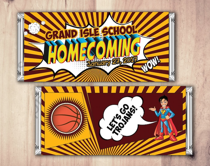 Comic Candy Bar Wrapper, Homecoming, Chocolate Bar, Birthday Candy Wrappers, favor, prom, school event, comic party
