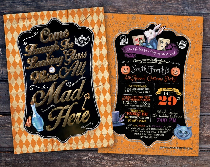 Halloween party, Mad Hatter Tea Party, Alice in Wonderland Invitation /  Birthday Invitation / costume party invitation, invite, kid's party