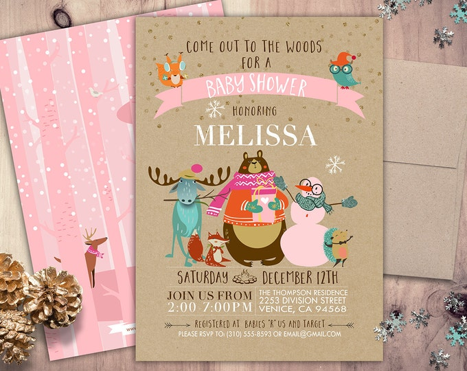Woodland Baby shower, Woodland birthday, Winter ONEderland Birthday Party Invitation, Woodland Fox Invite, forest animals, lumberjack
