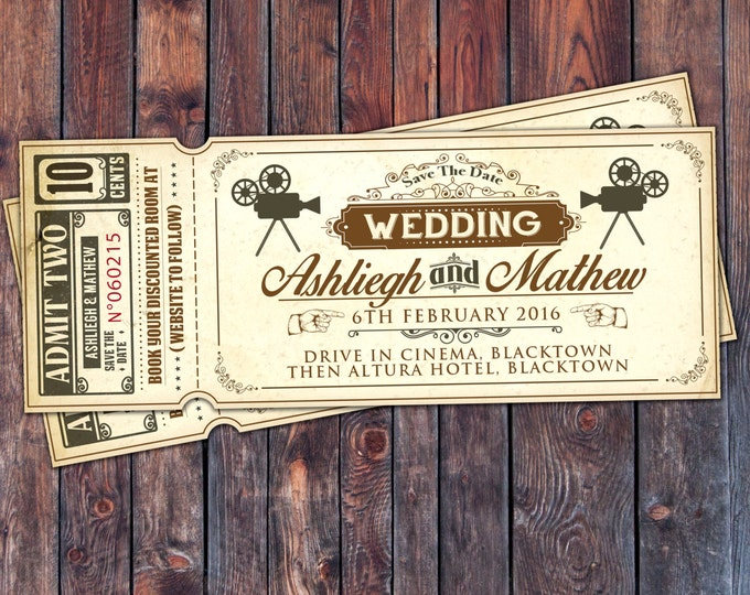 Art DecoVintage Retro Save the Date Ticket Announcement, invitation, wedding shower, old Hollywood , Cinema, retro cinema ticket