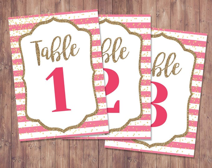 Spade party, table numbers,  bridal shower, brunch, decor, sweet 16, birthday, wedding, baby shower, couples shower, pink, glitter