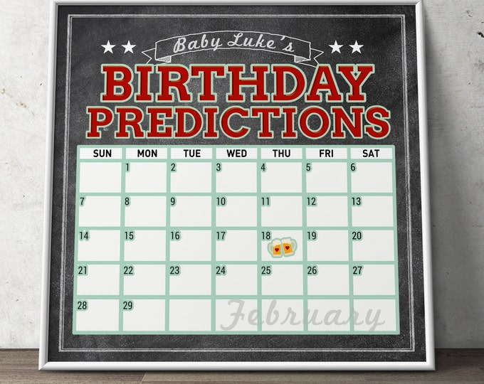 Shower game, Baby is brewing, Coed baby shower- birthday predictions- couples baby shower, BBQ, baby calendar, Digital file only