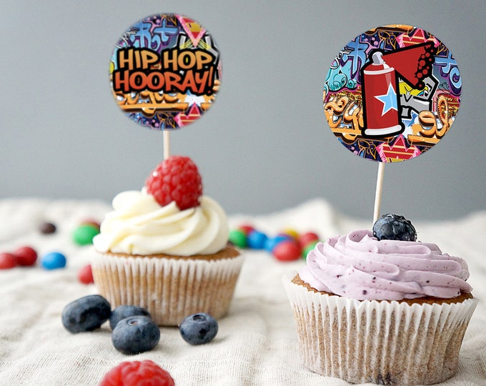 Cupcake toppers, Fresh Prince, Birthday, Baby Shower, Hip Hop, Swagger, 90s, Graffiti, Digital files ,90s party, HipHop party decor, hip hop