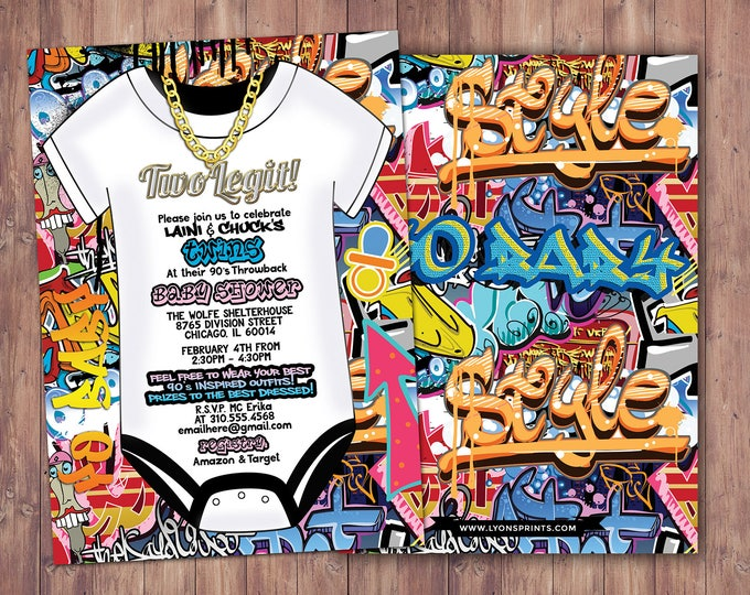 Prince, Baby Shower, Throwback shower, Hip Hop, 90s, Push it shower, Graffiti invite, Fresh, 90s party, hip hop theme, digital invite