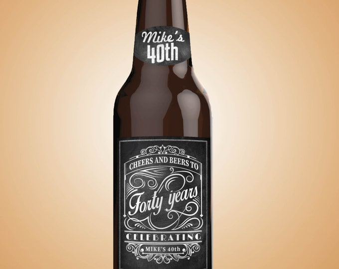 Personalized DIGITAL Beer Labels, Cheers and beers, birthday, 30th, 40th, 50th, 60th, 70th, Cheers and beers to thirty years, retirement.