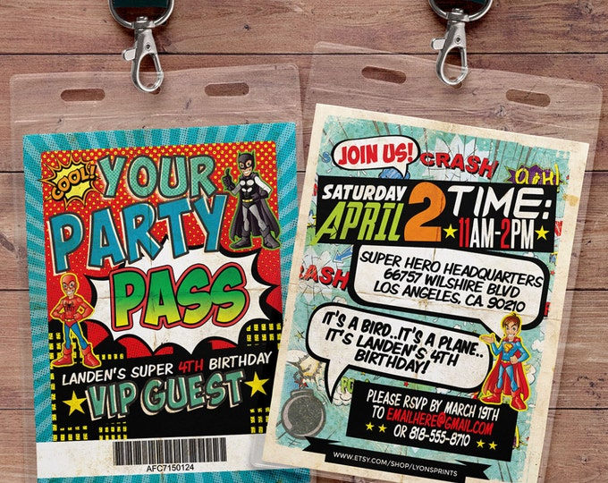 Super Hero party invitation / boy birthday invitations /  batman, spiderman, superman, comic invitation, retro comic, super hero birthday