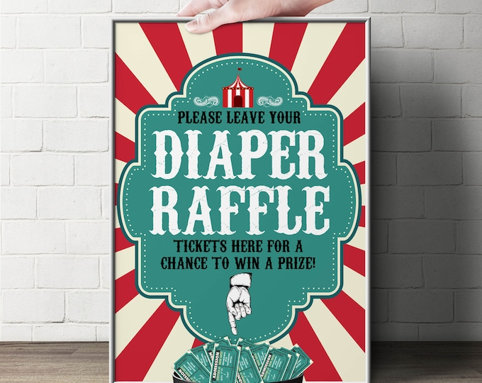 "Diaper Raffle Sign ""Vintage circus"" (Printable File Only)  Bring Diapers for Mom Raffle, baby shower, baby shower games, baby shower sign"