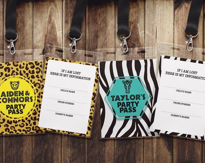 VIP PASS,  ZOO birthday, identification card, Party favor, lanyard, animal print, animals,safari, Africa, Digital files
