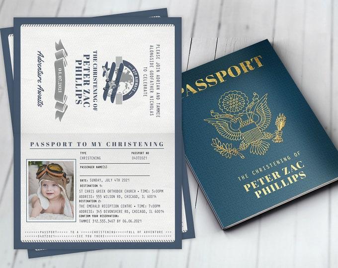 Passport  christening invitation, baptism invitation, birthday invitation, travel party Digital files only