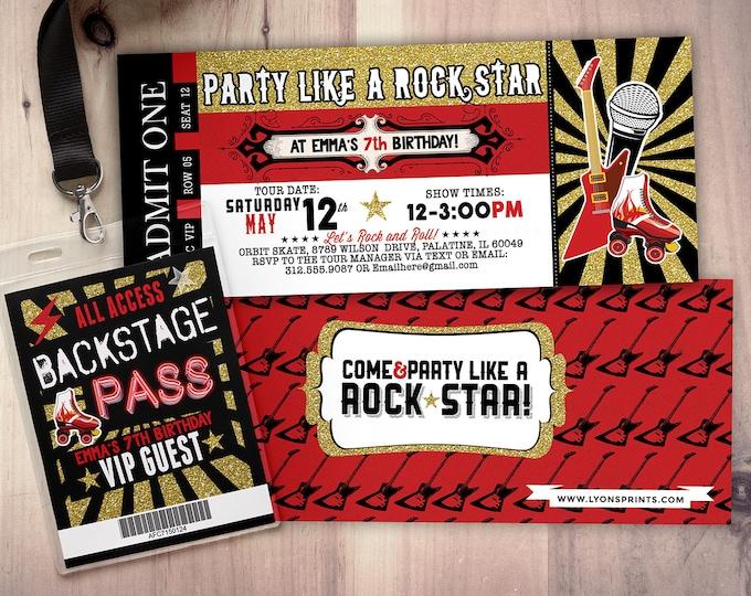 Roller-skate, Rock star, concert ticket birthday party invitation- Music invitation, rockstar party, pop star, karaoke party,  invite