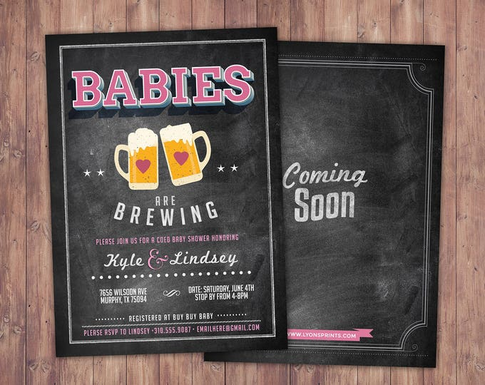 Baby is brewing, Twins, Coed baby shower invitation- Beer baby shower invitation- couples baby shower - girl baby shower - gender reveal