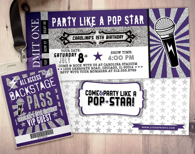 ROCK STAR concert ticket birthday party invitation- Music invitation- printable, rockstar party, pop star, animal print, 80's, invite,retro