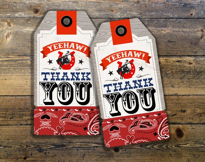 Western, cowboy, cowgirl, birthday, Western birthday, Rodeo, favor tags, party favor, thank you, horse, circus, carnival