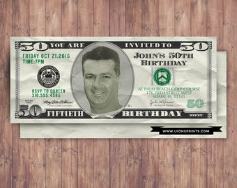 ANY AGE Money Invitation 21st 30th 40th 50th 60th 70th Surprise Birthday Party Adult