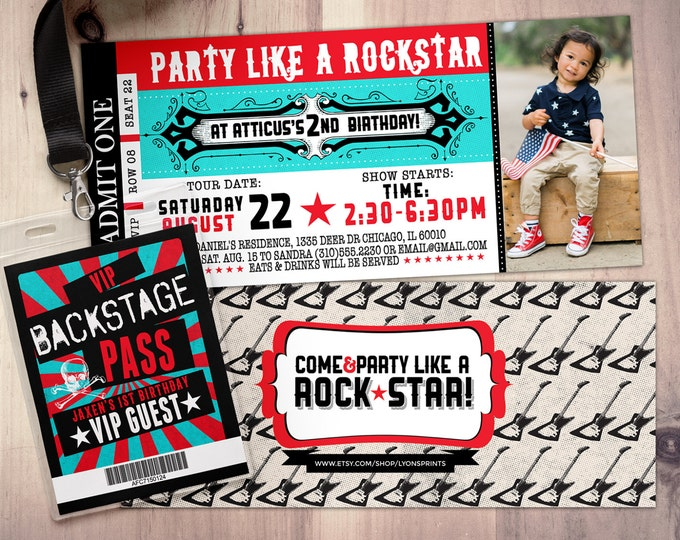 ROCK STAR concert ticket birthday party invitation- Music invitation- photo card, printable, rockstar party, rock star invitation, VIP pass