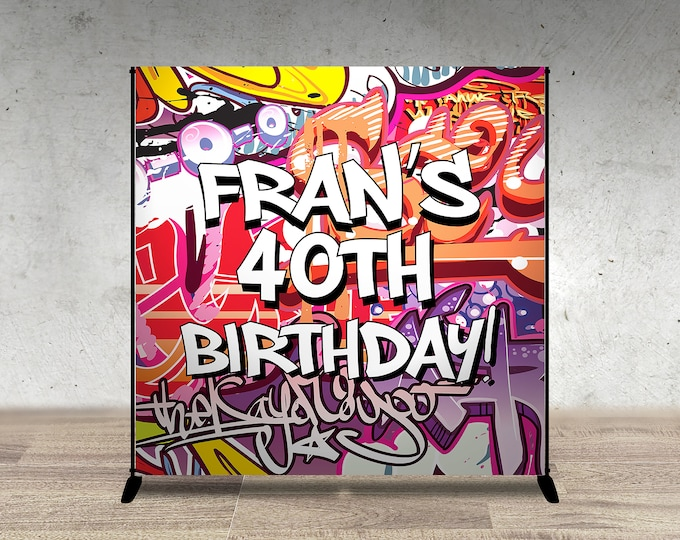 Backdrop, Baby Shower, Throwback party, Hip Hop, 90s, Push it shower, Graffiti banner, 90s party, hip hop theme, digital file only
